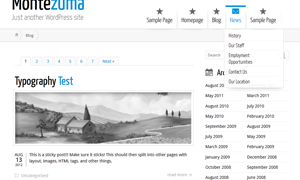 Wordpress Montezuma theme on Safari